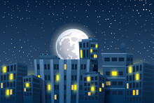 Night Cityscape With The Moon