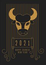 2021. Golden Bull Head On A Bl...