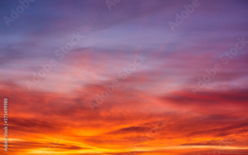 Fototapety, obrazy: sunset sky with multicolor clouds. sky for replacement in architectural photography or 3d design.