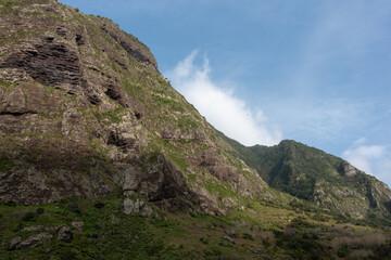 High mountains under blue sky. Sao Vicente, north of Madeira Island.