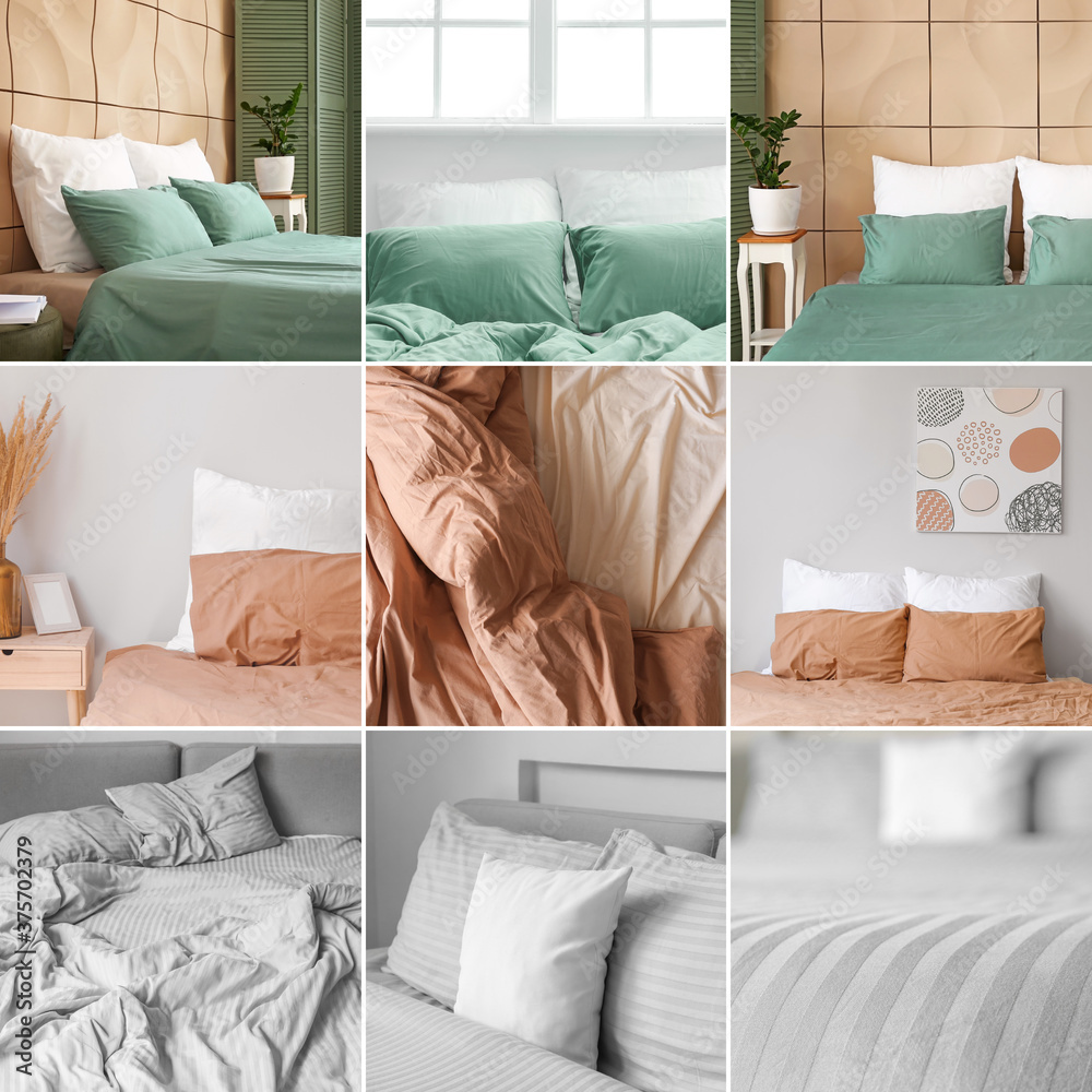 Fototapeta Collage of pictures with colorful bed sheets