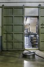 Close Up Of ÔøΩ_ÔøΩ_wooden Door Inside A Winery