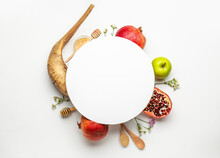 Composition For Rosh Hashanah (Jewish New Year) On White Background