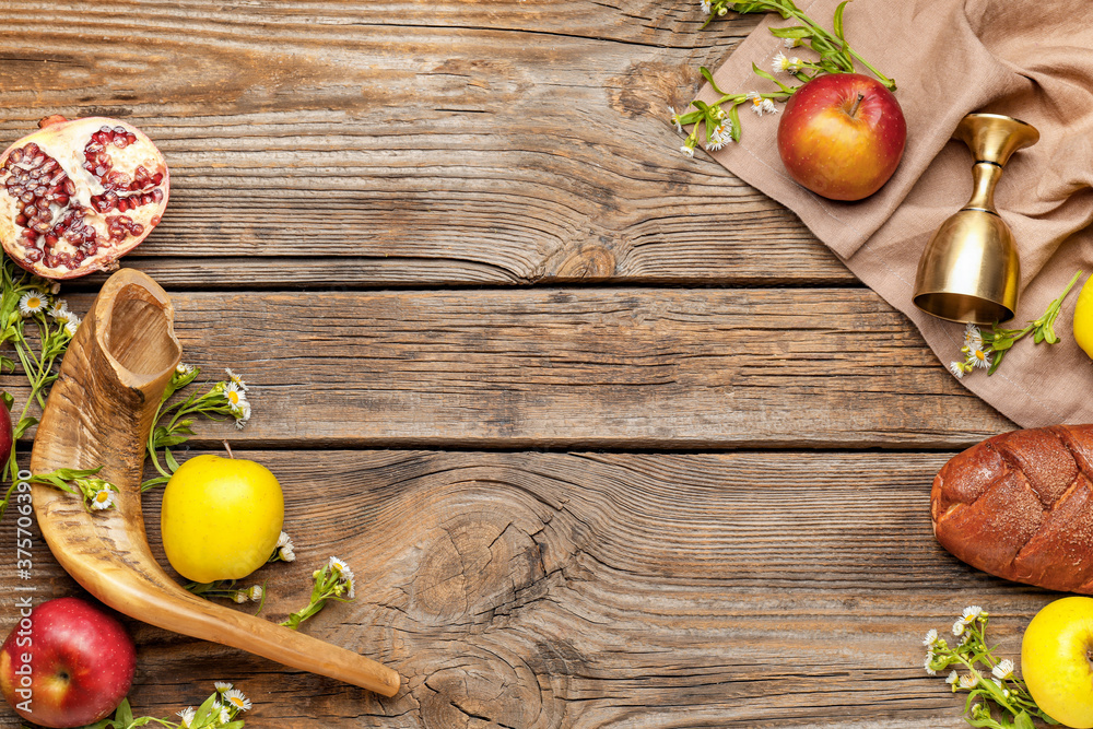 Fototapeta Composition for Rosh Hashanah (Jewish New Year) on wooden background