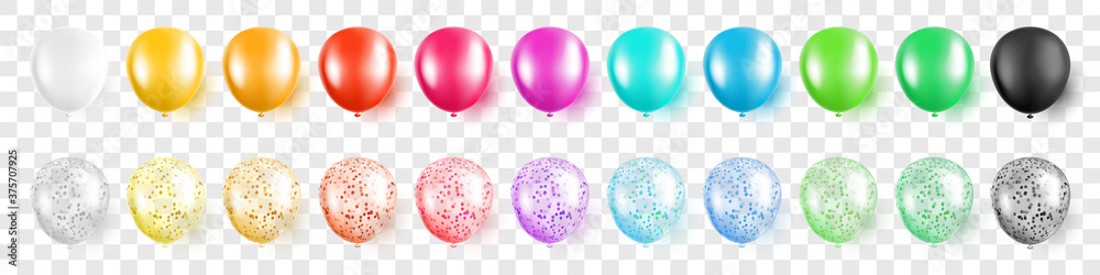 Fototapeta Colorful party balloons with confetti set on transparent background isolated vector illustration