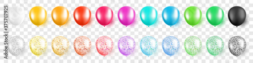 Photo Colorful party balloons with confetti set on transparent background isolated vec