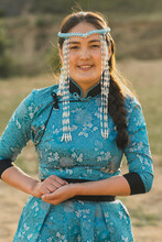 Mongolian Woman Wears National...