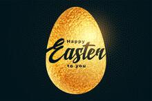 Happy Easter Golden Egg In Tex...