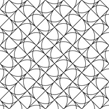 Grid Motif. Modern Mosaic Ornament With Repeated Figures. Repeat Shapes Background. Seamless Surface Pattern Design With Polygons. Grill Wallpaper. Crossed Diagonal Lines And Curves. Vector Artwork.