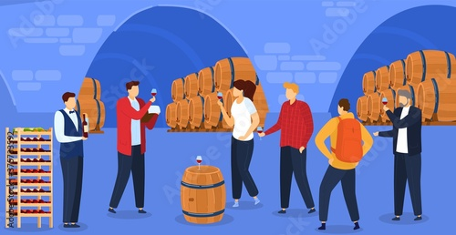 Grape wine degustation vector illustration. Cartoon flat people degustate red wine alcohol drink, drinking alcohol product beverage in underground traditional storage, winery production background