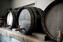Old Wooden Beer Barrels