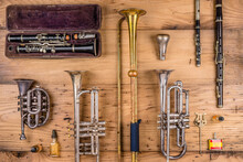 A Collection Of Vintage And Antique Musical Instruments