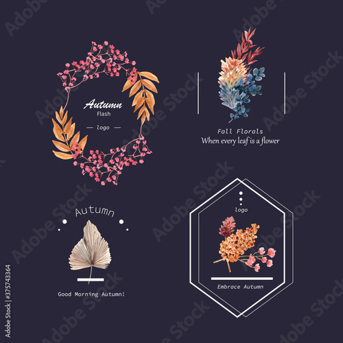 Logo design with autumn flower concept for brand and marketing watercolor  illustration Fotobehang