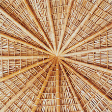 Detail Of Roof Made From Palm Leaves And Wood Beams From Mexican Palapa