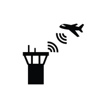Air Traffic Control Tower Icon Vector On White Background, Simple Sign And Symbol.