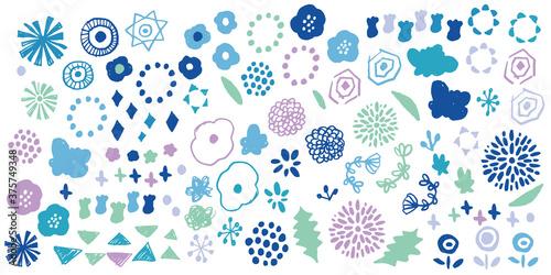 冬カラーの北欧風花柄 Fotobehang