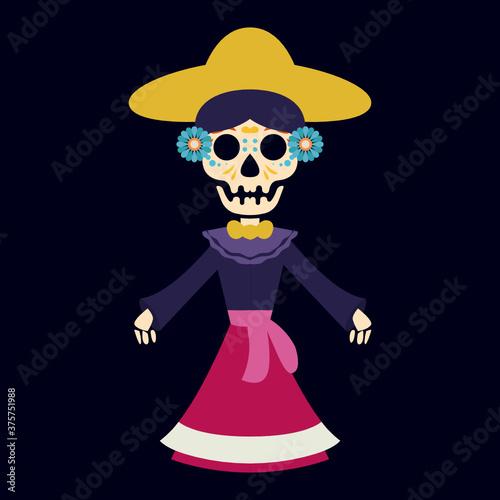 Photo Dia de los muertos, Day of the dead festival mascot design illustration