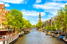 Crowded Amsterdam Canal Houseboats Westerkerk Church Cathedral Under Brilliant Sunny Summer Sky