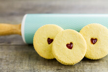 Jam Heart Biscuits Against Rolling Pin