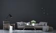 Leinwanddruck Bild - Modern mock up interior design of living room and black pattern wall background