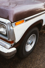 Detail Of Brown Vintage Truck, Focus On Headlight And Front Wheel