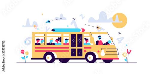 School bus vector illustration. Flat tiny