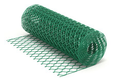 Roll Of Wire Chicken Wire Mesh Fence On White Background - 3D Illustration