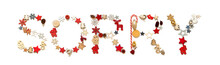 Colorful Christmas Decoration Letter Building English Word Sorry. Festive Ornament Like Christmas Tree, Star And Ball. White Isolated Background
