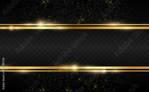 Papel de parede Gold glitter with shiny gold frame on a transparent black background