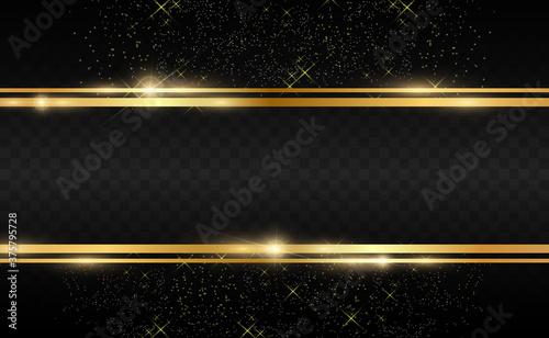 Fototapeta Gold glitter with shiny gold frame on a transparent black background