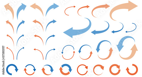 Obraz Illustration set of curved arrows - fototapety do salonu