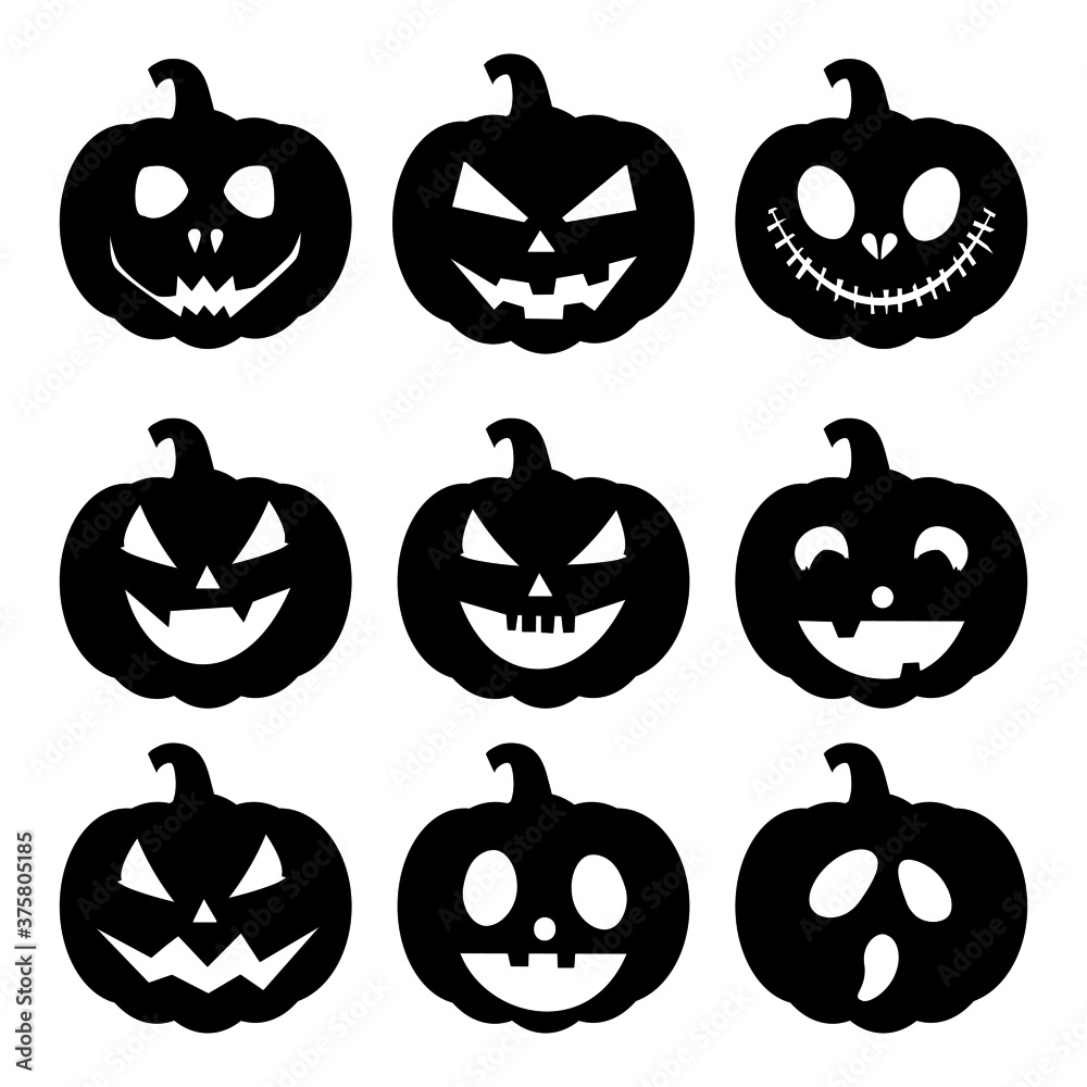 Fototapeta set of silhouette Halloween pumpkin with happy face on white background