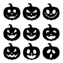 Set Of Silhouette Halloween Pumpkin With Happy Face On White Background