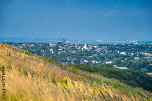 Obraz na plátně Sunny scenery of a grass hillside on Laziska Gorne's cityscape background in Pol