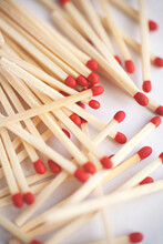 Close Up Of Matches On A White...