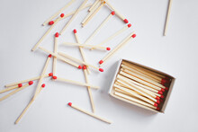 Close Up Of Matches On A White Background