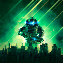 Cyberpunk Soldier City Under Siege / 3D Illustration Of Science Fiction Military Robot Warrior Rising Above Futuristic Dystopian Skyline