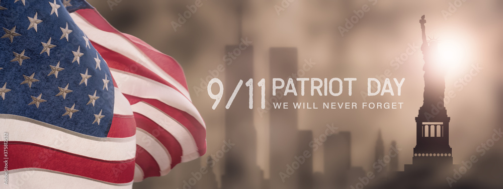 Fototapeta American National Holiday. US Flag background with American stars, stripes and national colors. New York. Text: PATRIOT DAY - We will never Forget