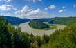 """view from viewpoint """"schlögener blick"""" to the danube river in upper austria"""