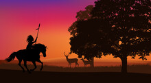 Vector Silhouette Scene With Native American Indian Chief Riding Horse At Forest Edge With Grazing Deer In The Sunset Background