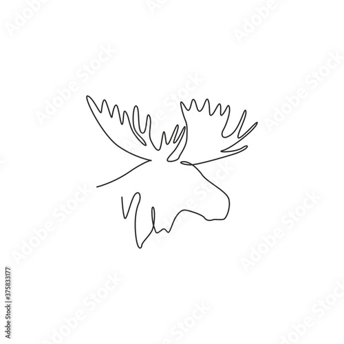 Fototapety, obrazy: Single continuous line drawing of sturdy moose head for logo identity. Buck animal mascot concept for national zoo icon. One line draw graphic design vector illustration