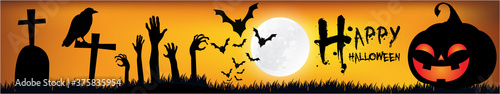 Foto Halloween Poster, night background with creepy castle and pumpkins, illustration