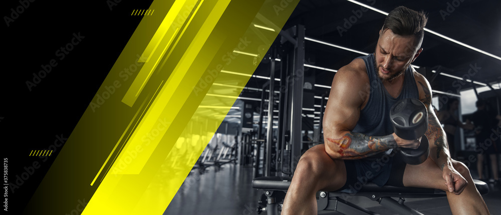 Fototapeta Young muscular caucasian athlete training in gym, doing strength exercises, practicing, work on his upper and lower body. Fitness, wellness, healthy lifestyle concept. Collage, flyer with copyspace.