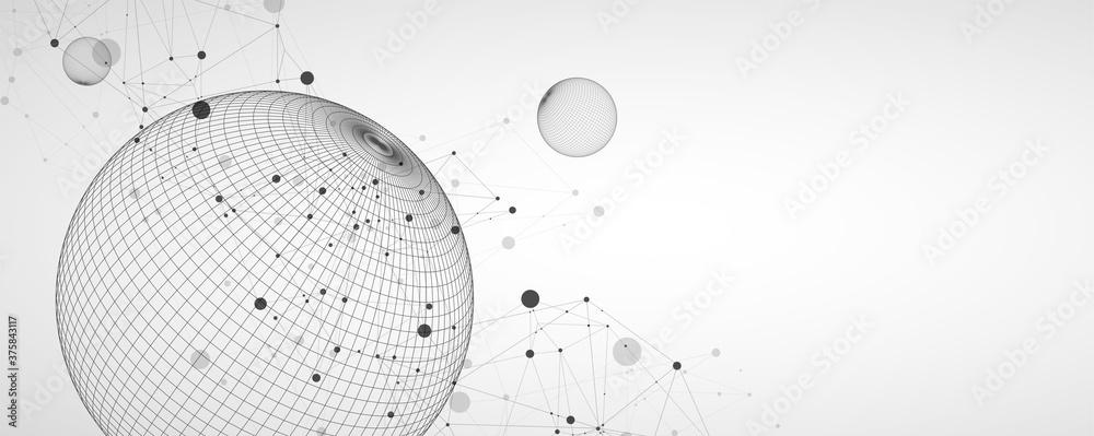 Fototapeta Abstract sphere background with plexus effect. 3D surface. Vector illustration.