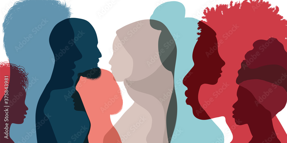 Fototapeta Silhouette profile group of men and women of diverse culture. Diversity multi-ethnic and multiracial people. Concept of racial equality and anti-racism. Multicultural society. Friendship