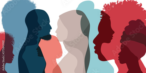 Obraz Silhouette profile group of men and women of diverse culture. Diversity multi-ethnic and multiracial people. Concept of racial equality and anti-racism. Multicultural society. Friendship - fototapety do salonu
