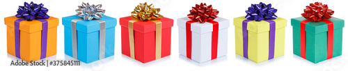 Fototapeta Christmas gifts birthday presents in a row gift boxes isolated on white obraz