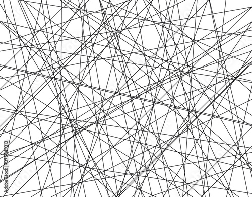 Photo Random chaotic lines vector pattern.  Line black pattern .