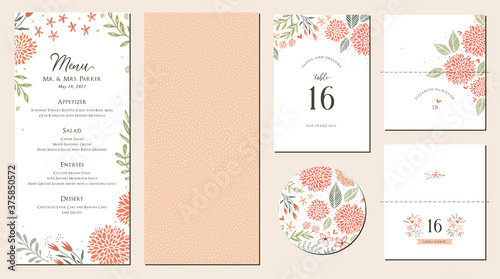 Obraz na plátně Universal hand drawn floral menu suite in warm colors perfect for an autumn or summer wedding and birthday invitations, and baby shower