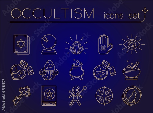 Photo Occult esoteric vector linear icons set for fortune telling & tarot reading mobile apps, blogs, highlights